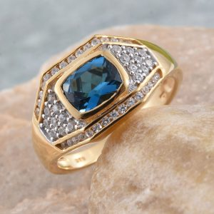 London blue topaz and gold men's ring.