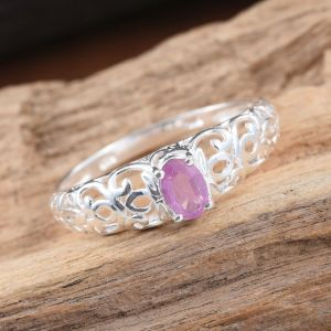 Pink sapphire ring in sterling silver.