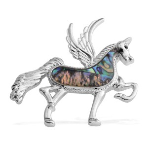 Silvertone Pegasus pendant with abalone shell.
