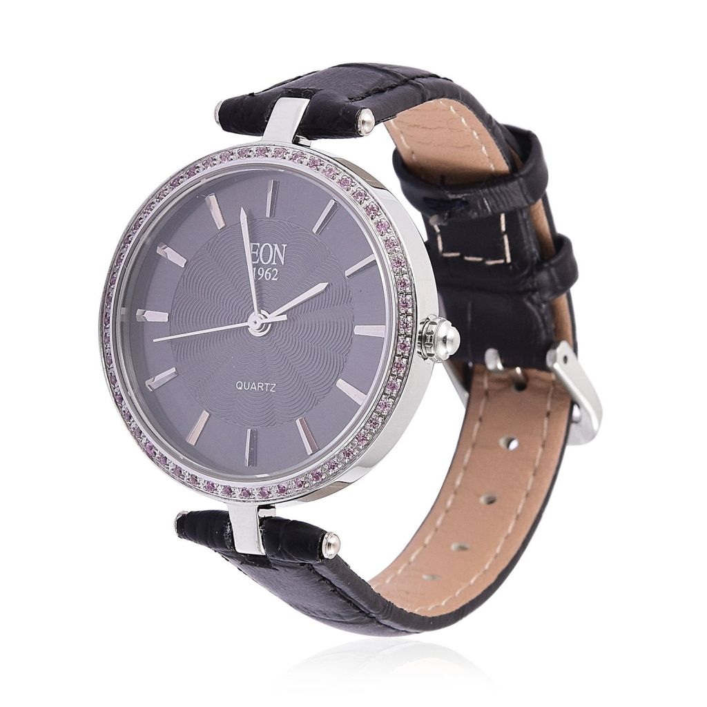 Eon 1962 watch with black dial and black leather band.