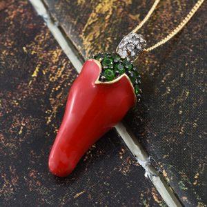 Enamel chili pepper pendant in sterling silver.