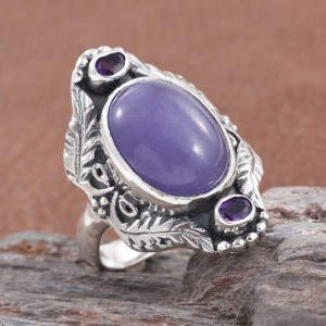 Artisan crafted purple jade statement ring in sterling silver with amethyst accents.