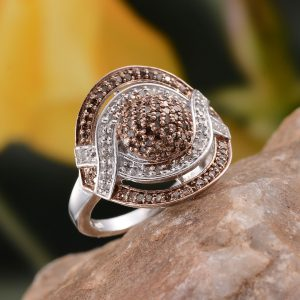 Champagne diamond statement ring in sterling silver.