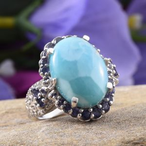 Larimar halo ring in sterling silver