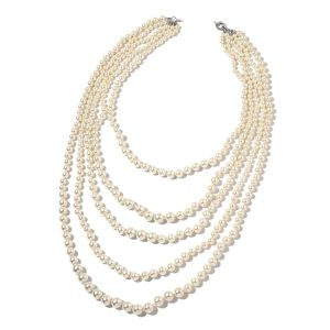 Glass pearl drape necklace.