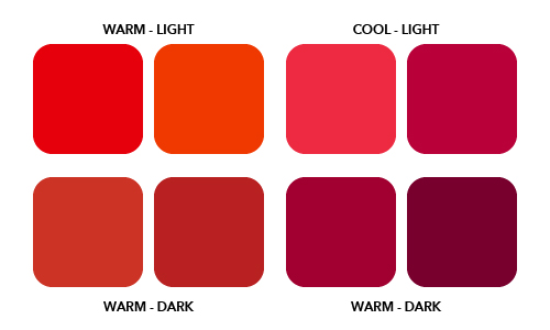 Warm and cool tones color diagram