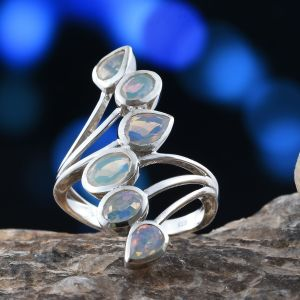 Ethiopian white opal elongated ring in sterling silver.