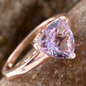 Rose de France amethyst ring in sterling silver with 14K rose gold finish.