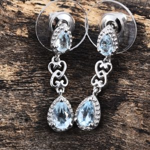 Sky blue topaz drop earrings in sterling silver.