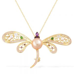 Dragonfly shaped Pearl Necklace