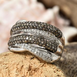 Champagne diamond split shank ring in artful display.