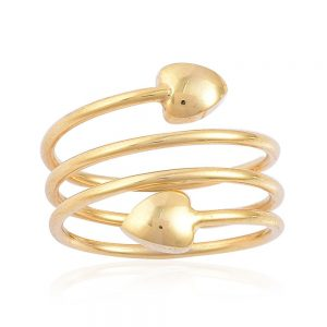 Gold wrap around ring with hearts