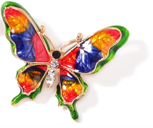 Colorful butterfly brooch.