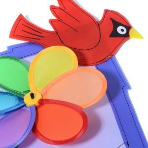 bird and flower wind spinner