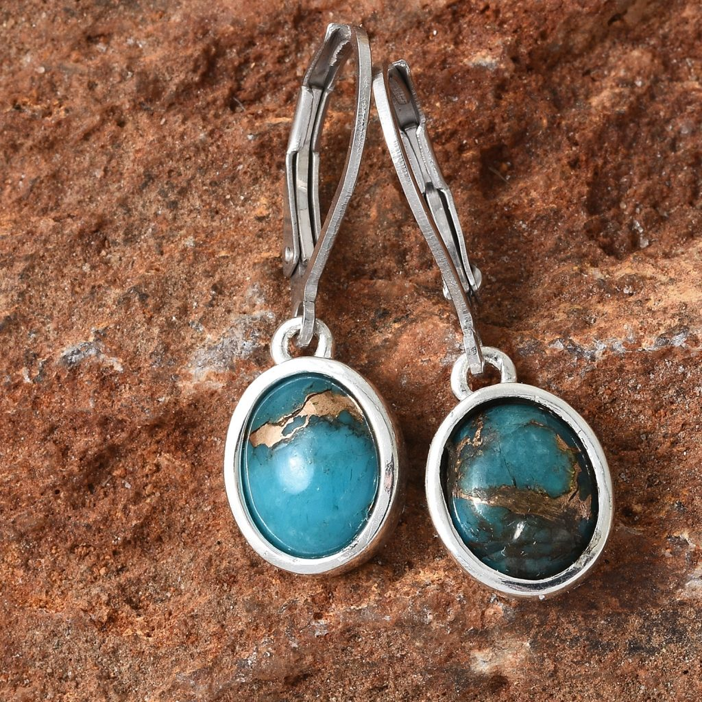 Mojave turquoise earrings in sterling silver.