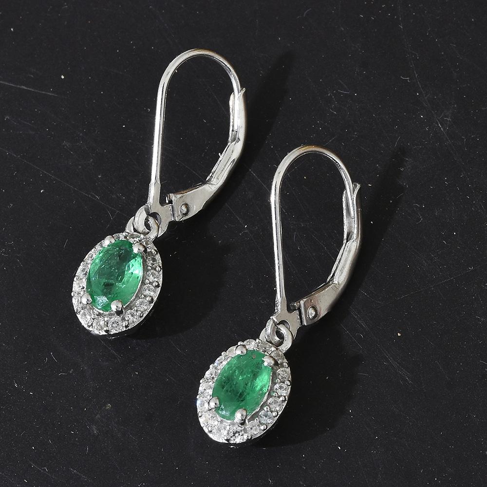 Emerald earrings in sterling silver.