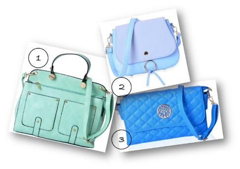 A seafoam satchel, pastel blue saddle bag and royal blue crossbody barrel bag.
