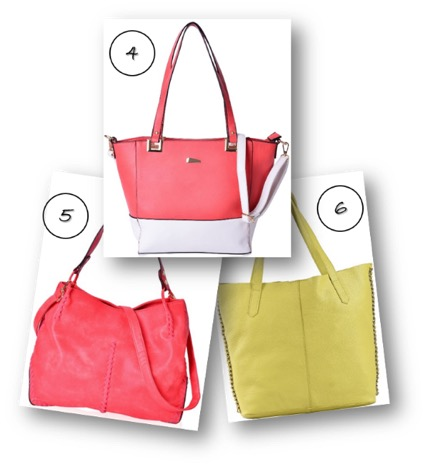 A coral and white tote bag, red hobo bag and a lime yellow tote bag.