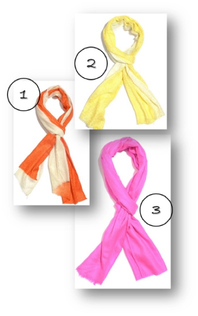 Orange ombre scarf, yellow ombre scarf and hot pink scarf.