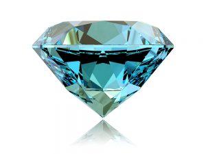 Round brilliant blue zircon gemstone.
