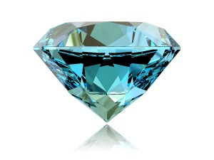 Round brilliant blue zircon gemstone.