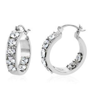 White zircon hoop earrings.