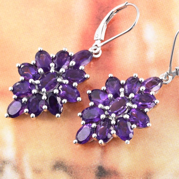 Amethyst earrings in sterling silver.