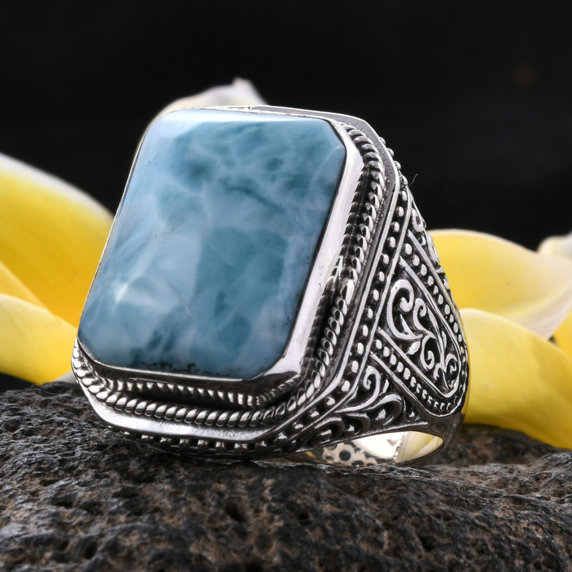 Larimar ring in sterling silver.