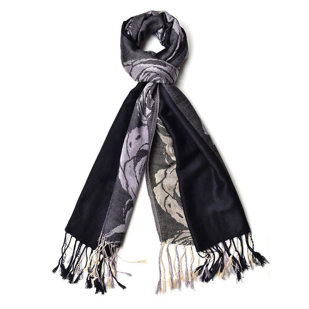 Closeup of black scarf against white background.