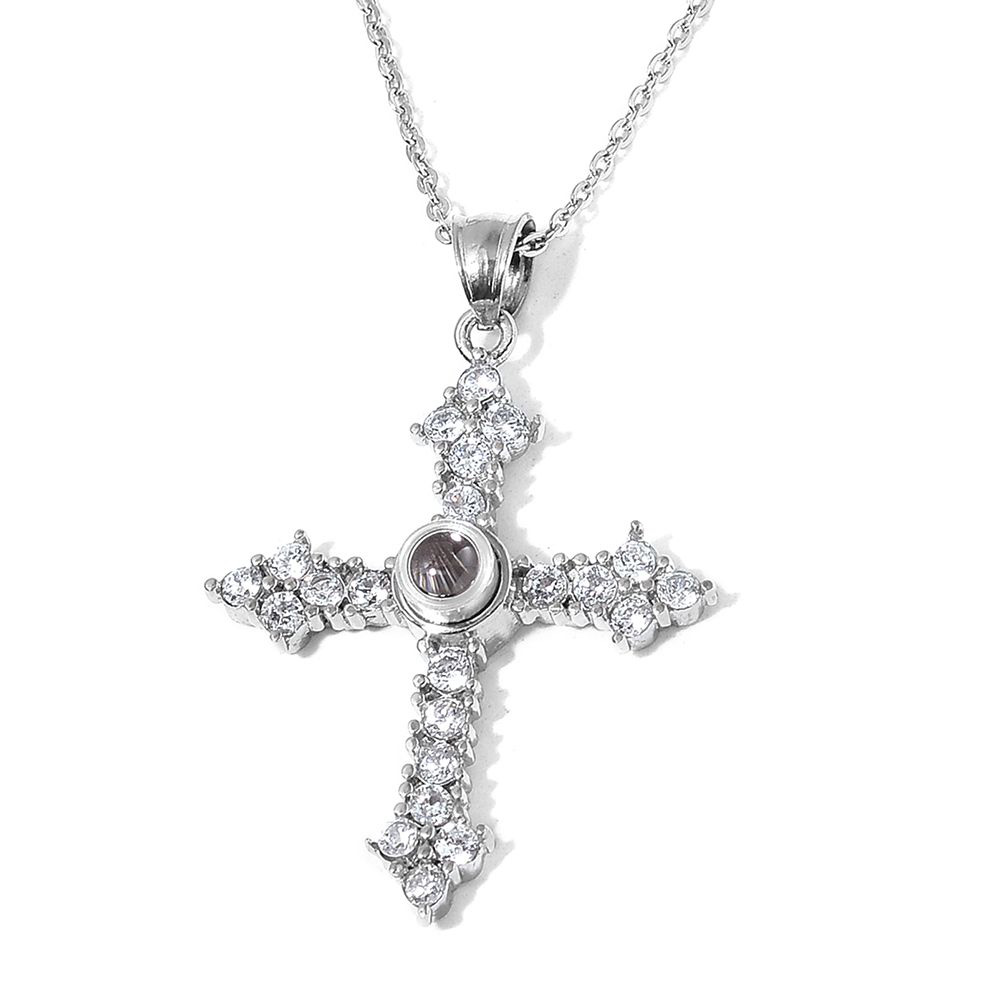 Closeup of cross jewelry.