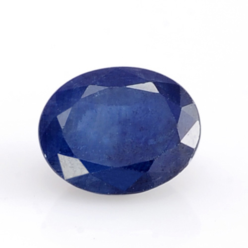 Sapphire gem against white background.