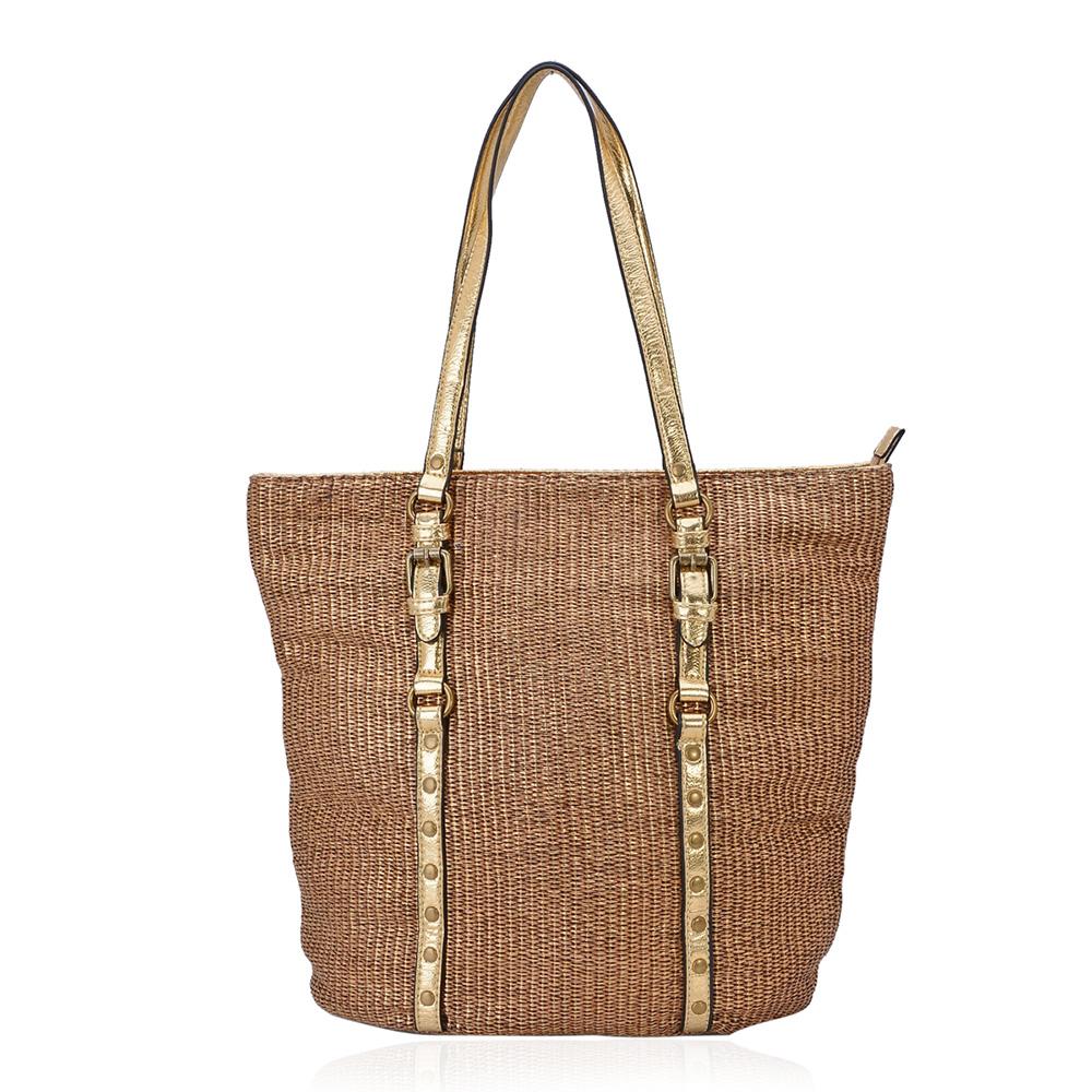 Tan handbag against white background.