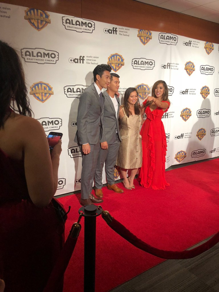Chris Pang, Ronnie Chieng and Chloe Dao on the red carpet.