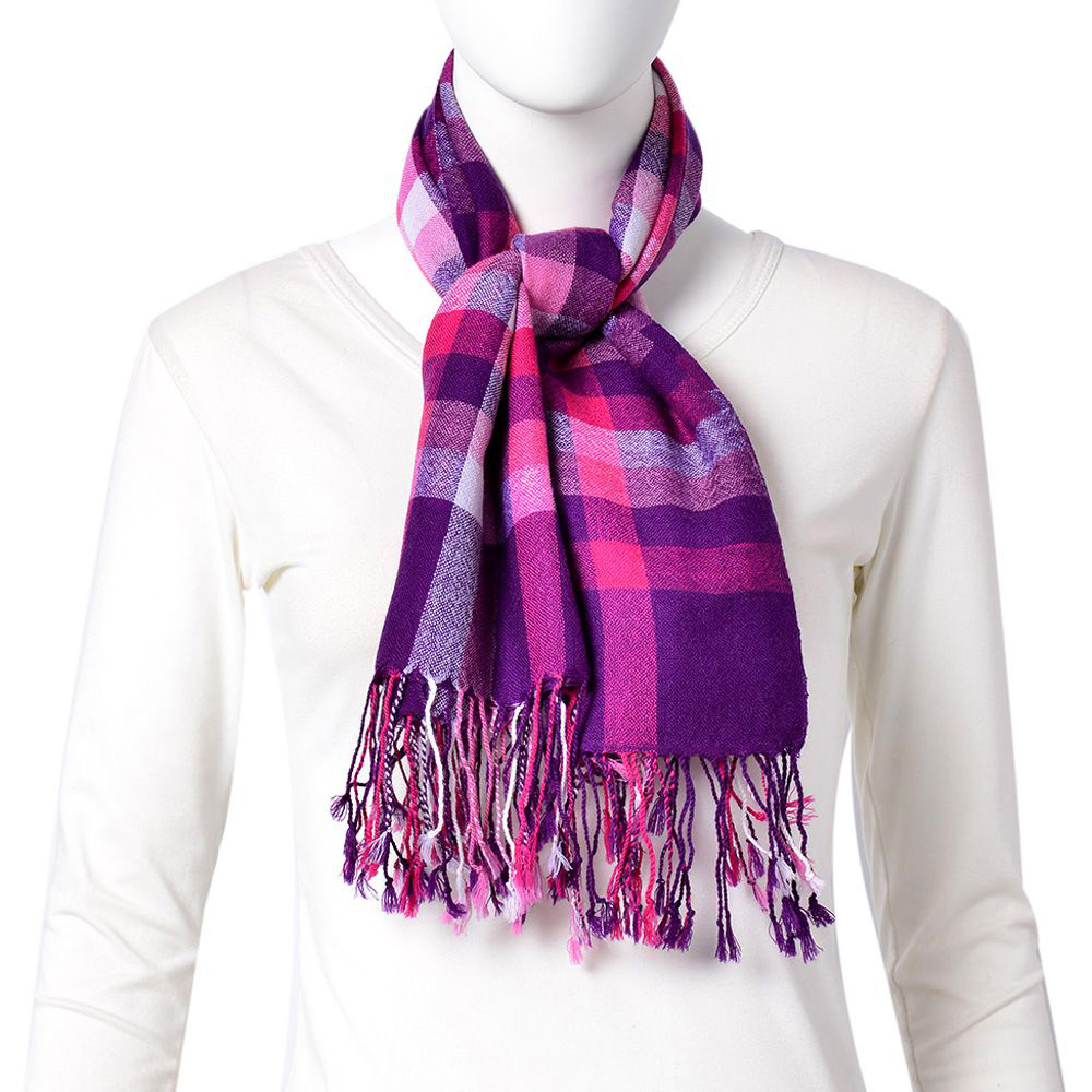 Plaid scarf against white background.