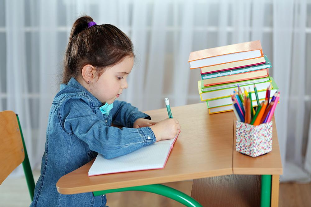 Girl working on homework.