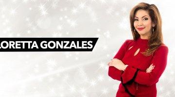 Loretta Gonzales posing against starry background