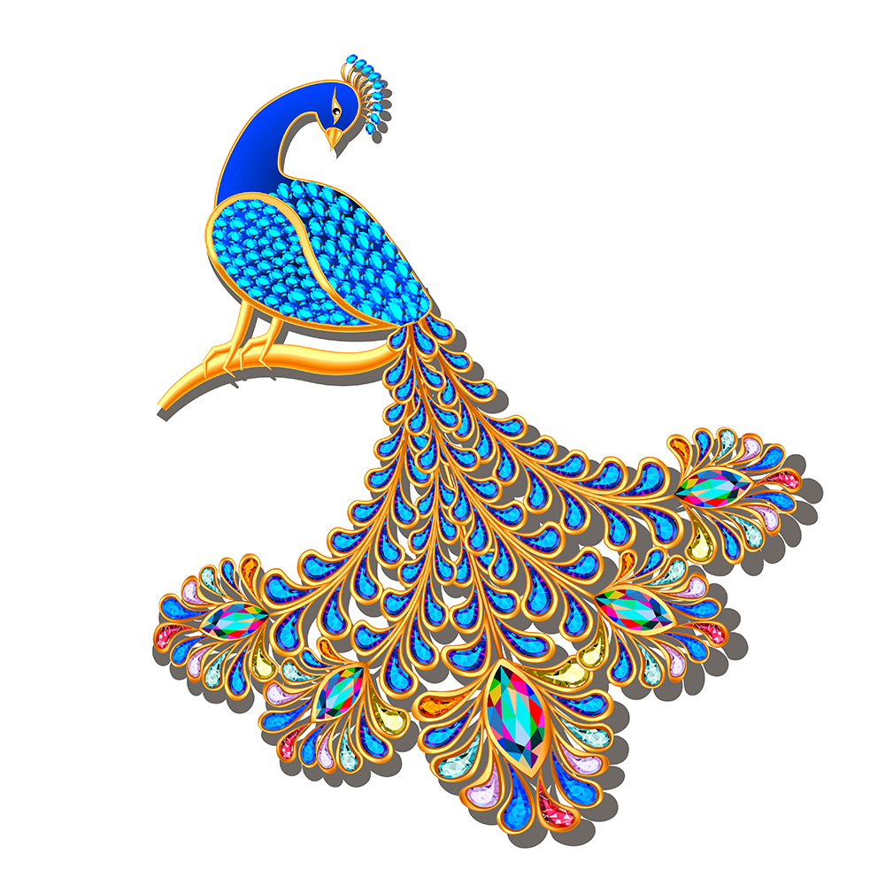 Closeup of peacock brooch against white background