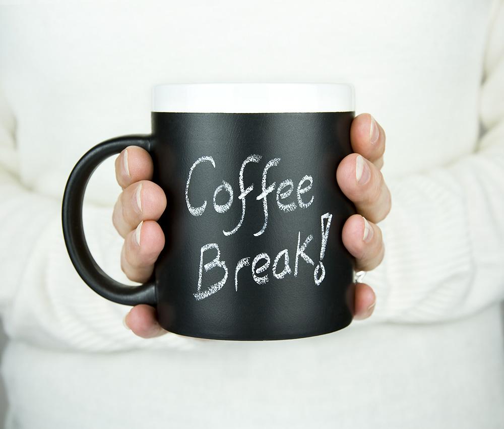 Closeup of black coffee mug