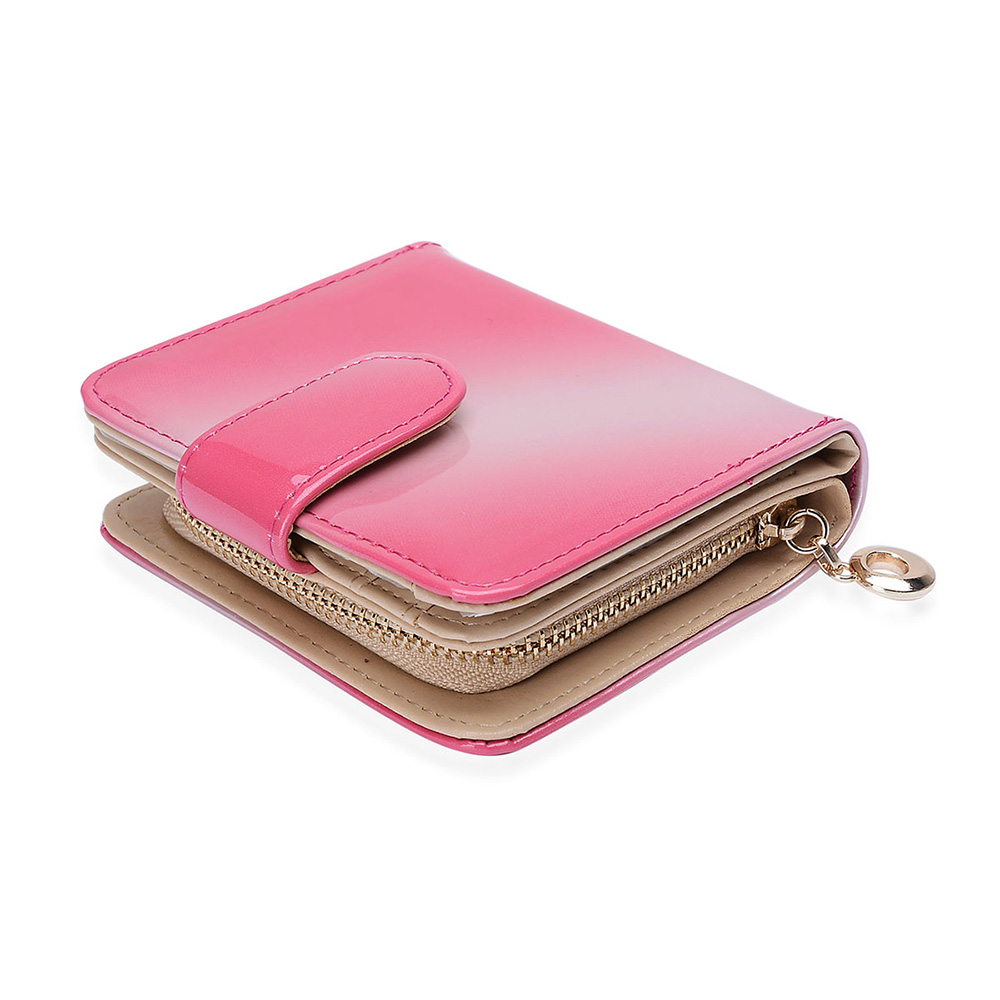 Closeup of pink wallet against white background