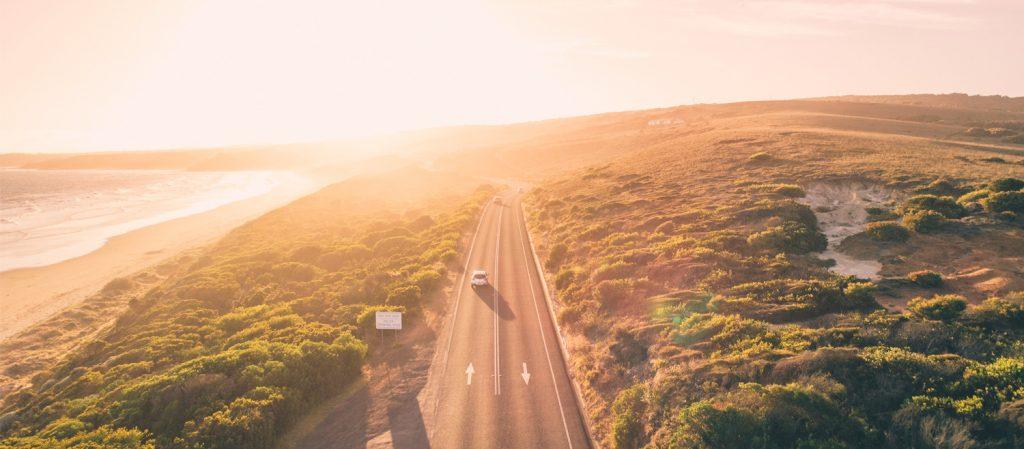 Road trip at sunset