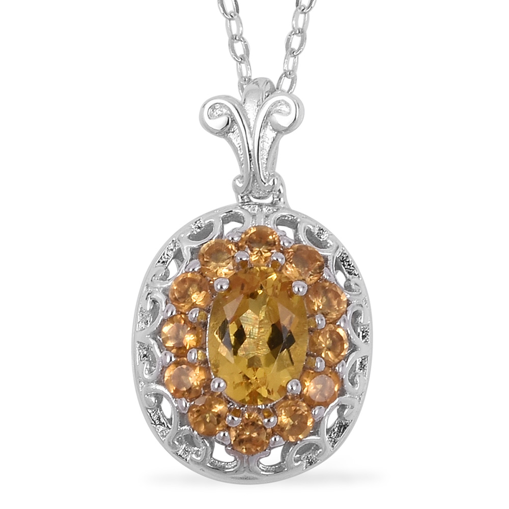 Brazilianb yellow beryl and Brazilian citrine in a floral setting necklace