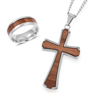 Men's acacia wood ring and cross set.