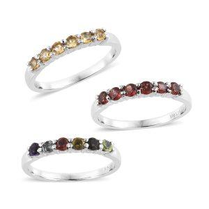 Set of stackable gemstone rings.