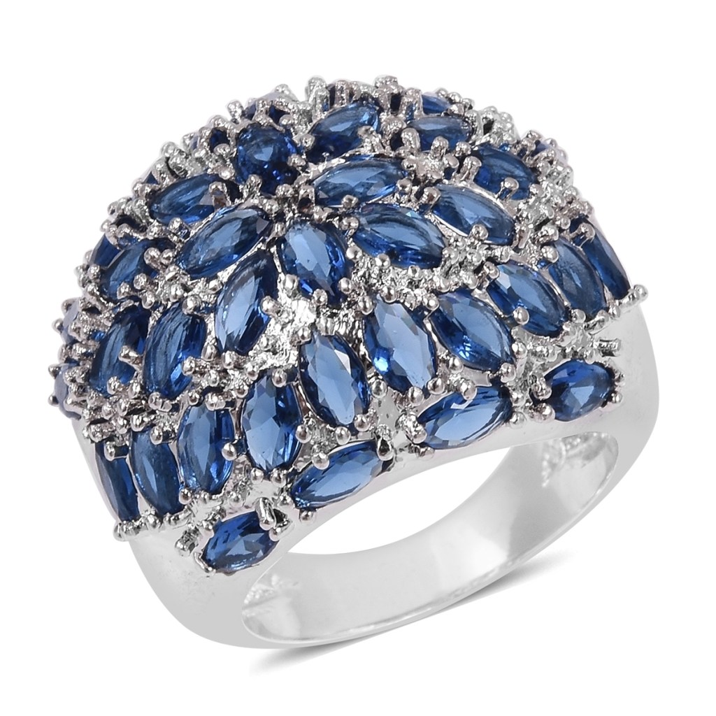 Blue cluster sapphire ring