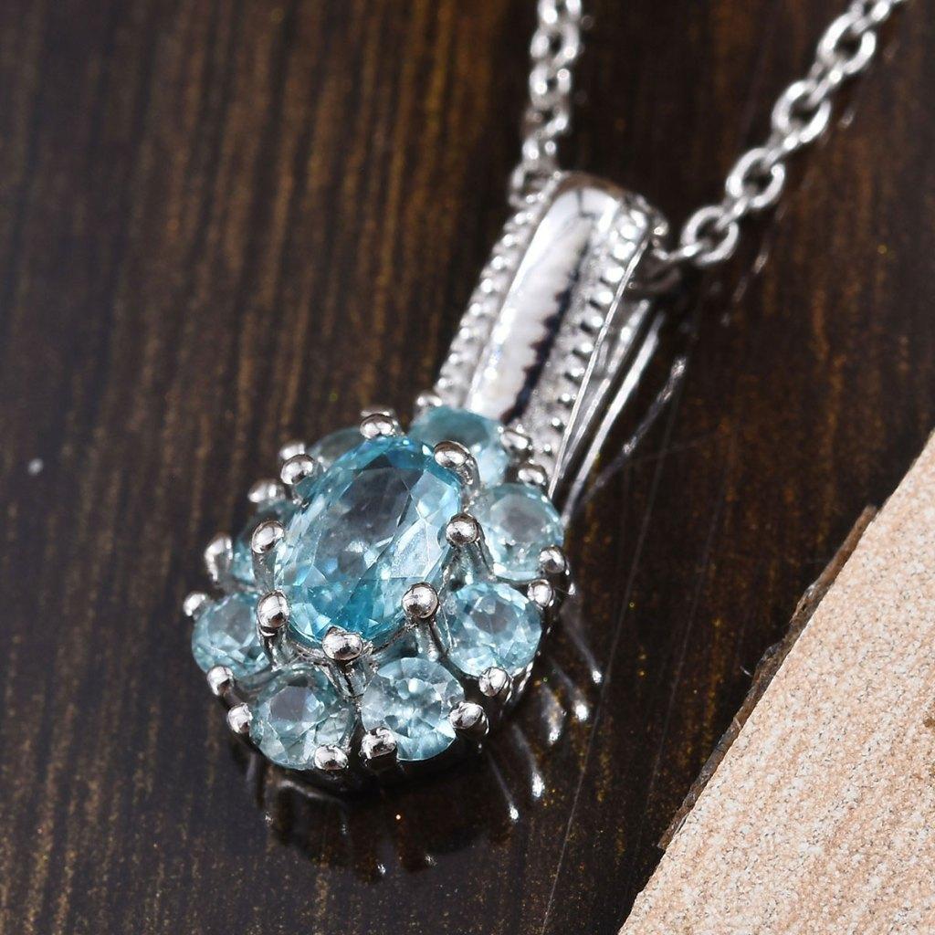 Cambodian Blue Zircon Pendant Necklace