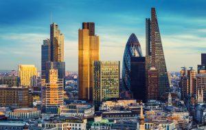 London Business District skyline.