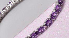 Amethyst Bracelet in Platinum Over Sterling Silver