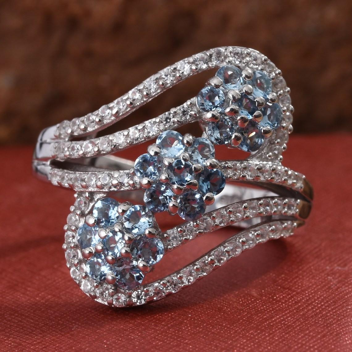 Aquamarine floral birthstone ring.