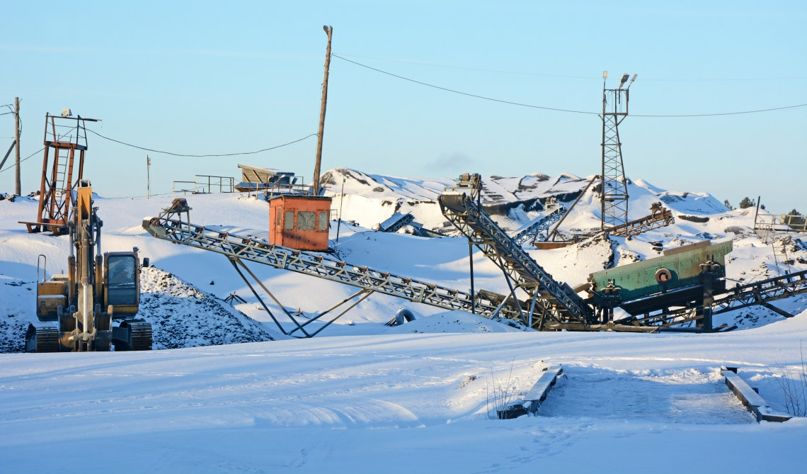 Shungite mining operations in Karelia, Russia.