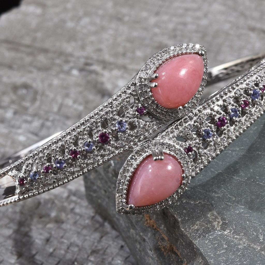Peruvian pink opal bypass cuff.